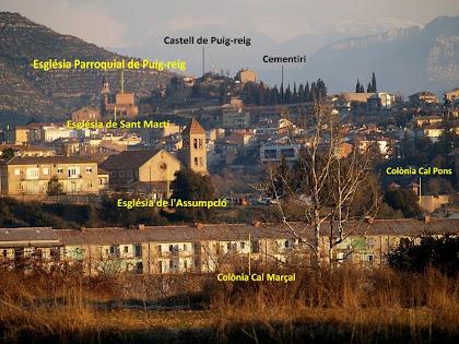 Vista de Cal Marçal i Puig-reig des de la rotonda d'accés a la C-16
