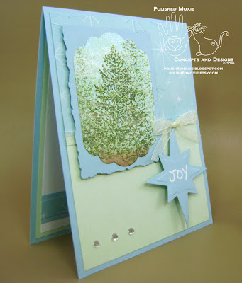 Picture of right angle view of my handmade evergreen trees Christmas card with a Joy tag