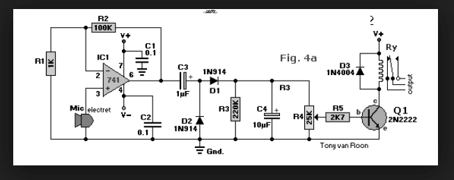 wiring schematic diagram  sound activated relay