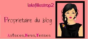 Lalafillestrop2 : Proprietaire du blog, Responsable des News, des Astuces, et des tenues.