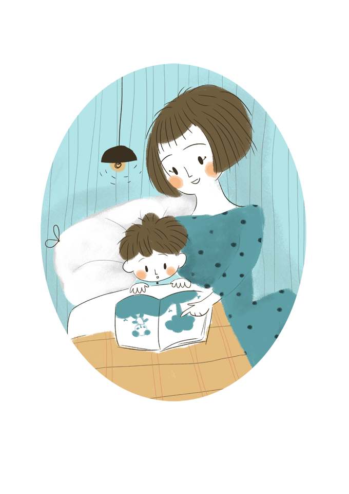 reading, illustration, mother, son, ilustración infantil, madre