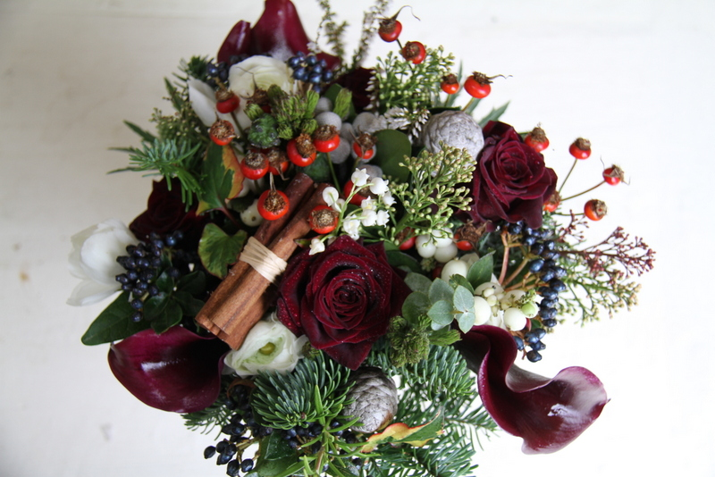 The Flower Magician Christmas Wedding Bouquet In Deep Purple Amp Red