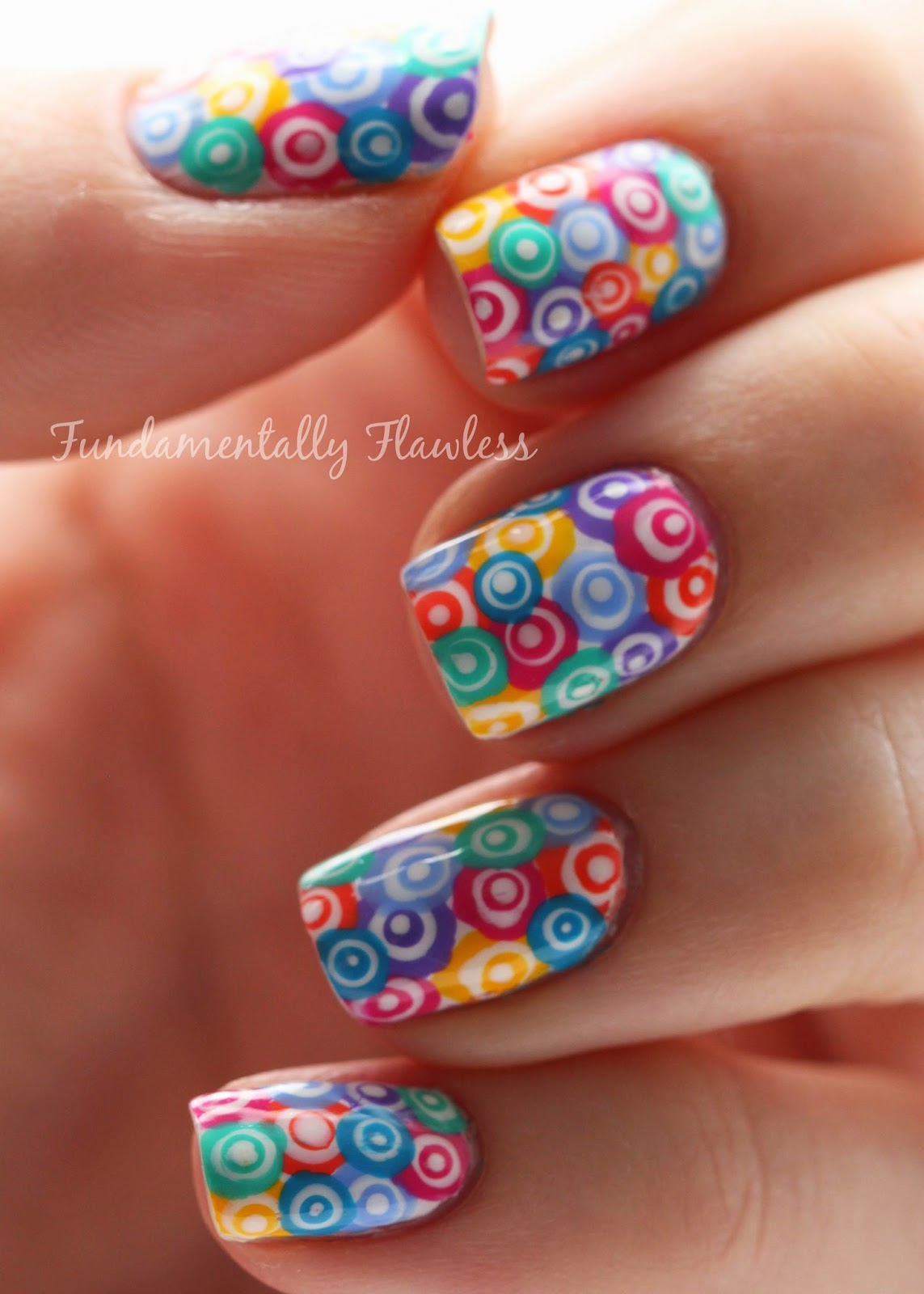 Murano glass concentric rainbow circles nail art