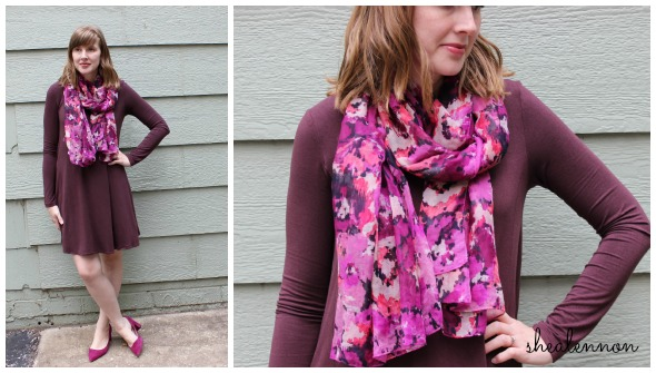 burgundy dress with bold colored scarf | www.shealennon.com