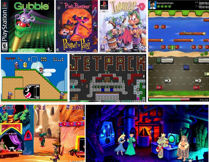 Jogos que marcaram a minha infância (anos 80/90): Gubble, The Adventures of Lomax, JetPack, Super Mario World (Super Nintendo), Frogger, Pantera Cor de Rosa - Passaporte para o Perigo, Iznogoud e Kings Quest 7.