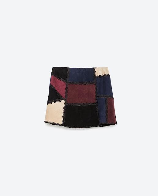 mini falda patchwork zara