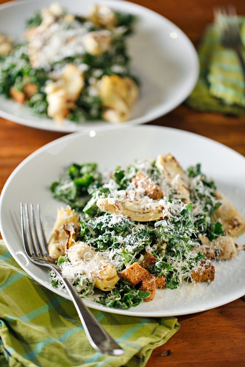 The Chubby Vegetarian: Kale Caesar Salad + Seared Artichoke Hearts