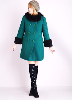 Vintage 1960's emerald green wool peacoat with black fur collar and cuffs