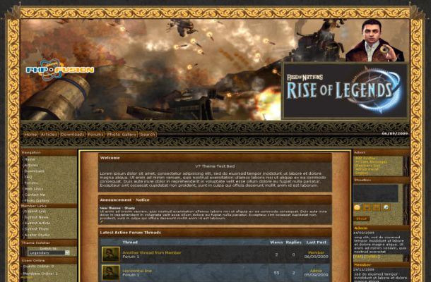 Rise Of Legends Phpfusion Theme