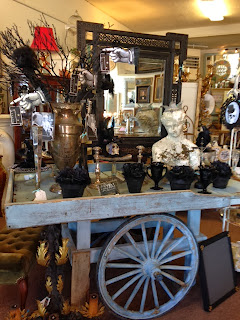 Antique painted french market cart at The Pickled Hutch