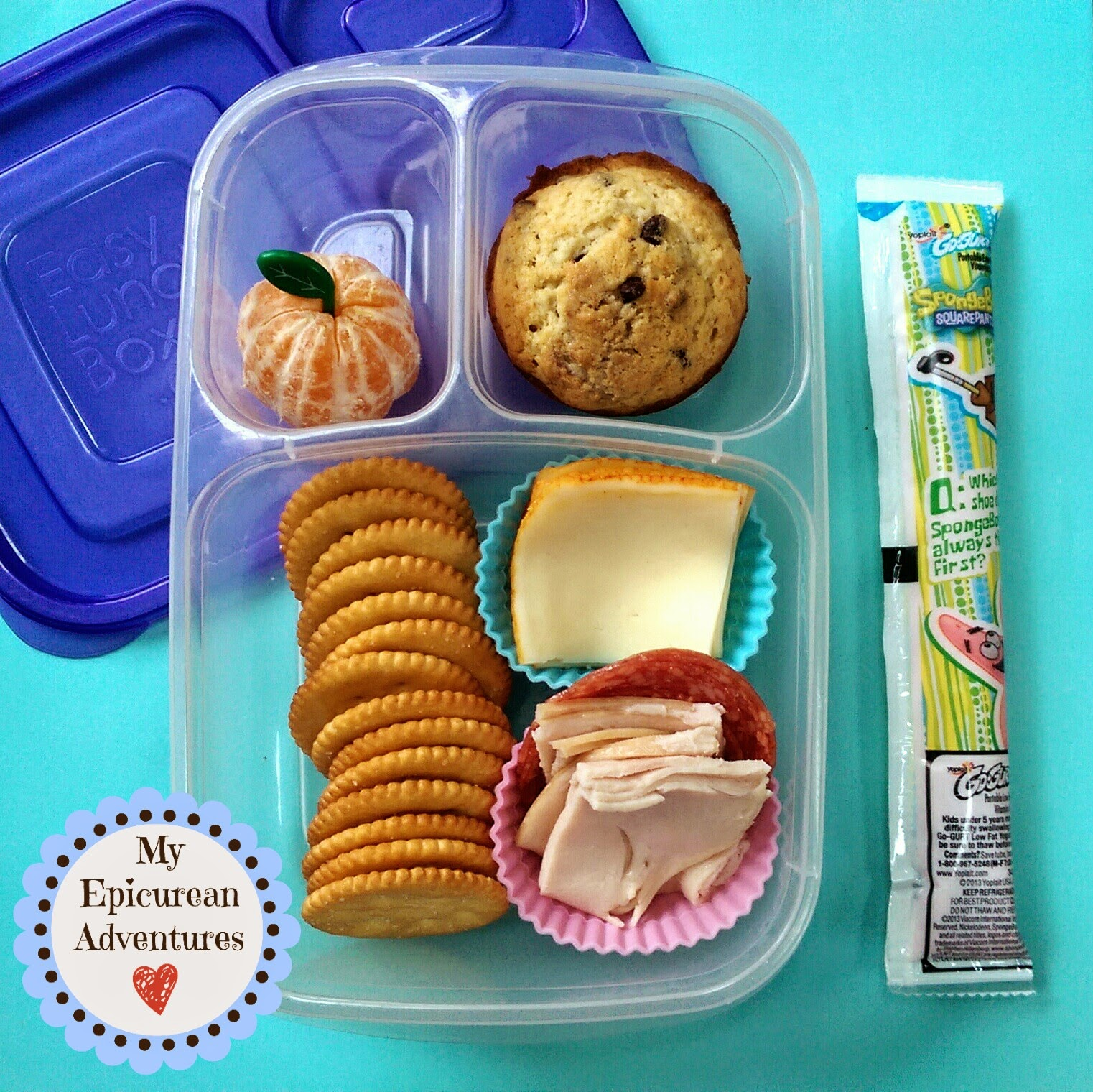 My Epicurean Adventures: Here's Lunch #37: Cheese and Cracker Lunchables and a Muffin in @easylunchboxes