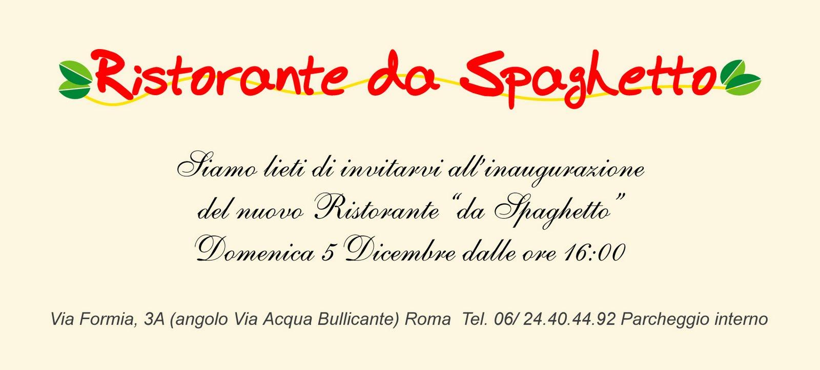 Ristorante Da Spaghetto Invito Inaugurazione Del Ristorante