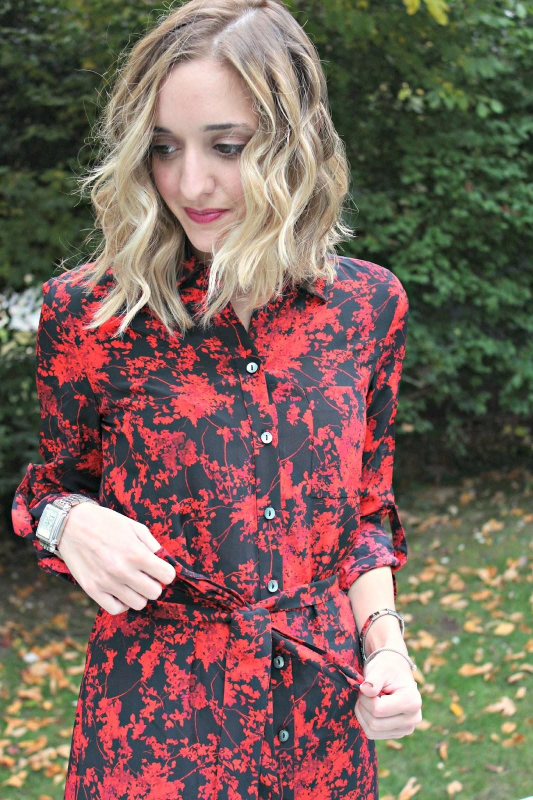 dvf floral shirt dress