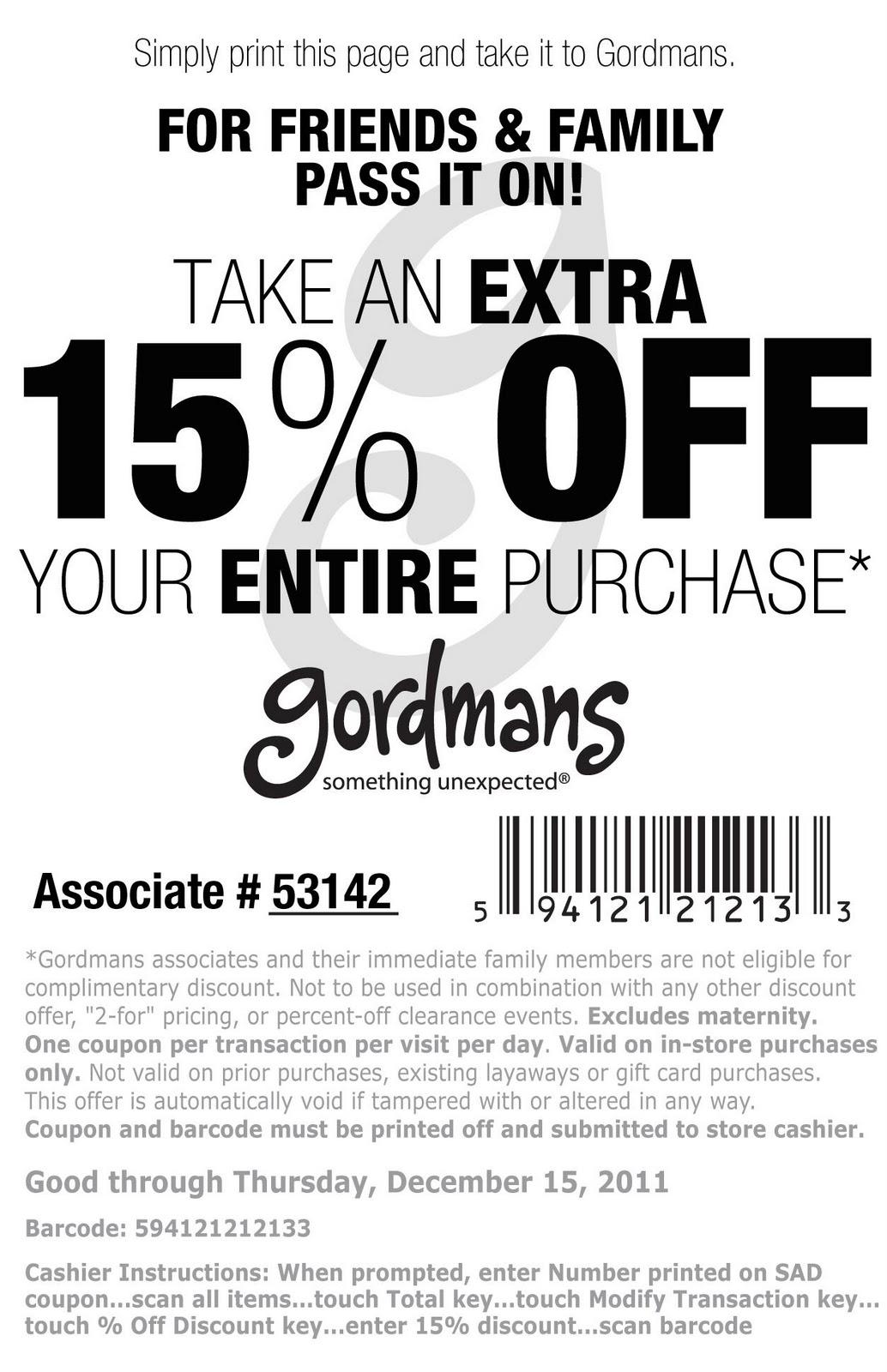Gordmans coupon code