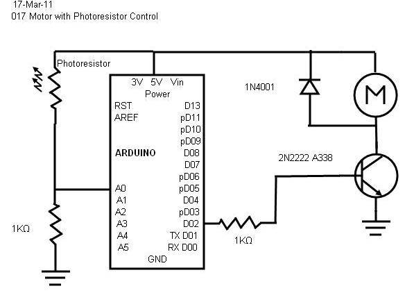 minutes  017 motor with photoresistor control
