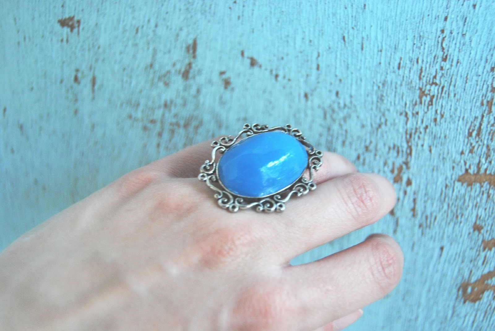 anillo arcilla polimerica azul
