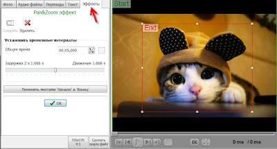 эффект Pan@Zoom в видео, приближение или отдаление картинки клипборада в видео