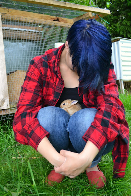 Blue hair, short hair styles, plaid, street style, bunny, baby animal, rabbits, farm