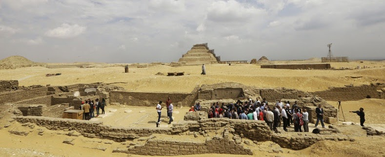 The site, pictured, was uncovered in Saqqara, around 18 miles (30km) south of Cairo, according to Egypt's Antiquities Ministry