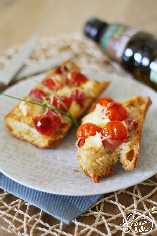 Bruschetta Chèvre, Jambon, Tomates et Huile de Noisette - Une Graine d'Idée