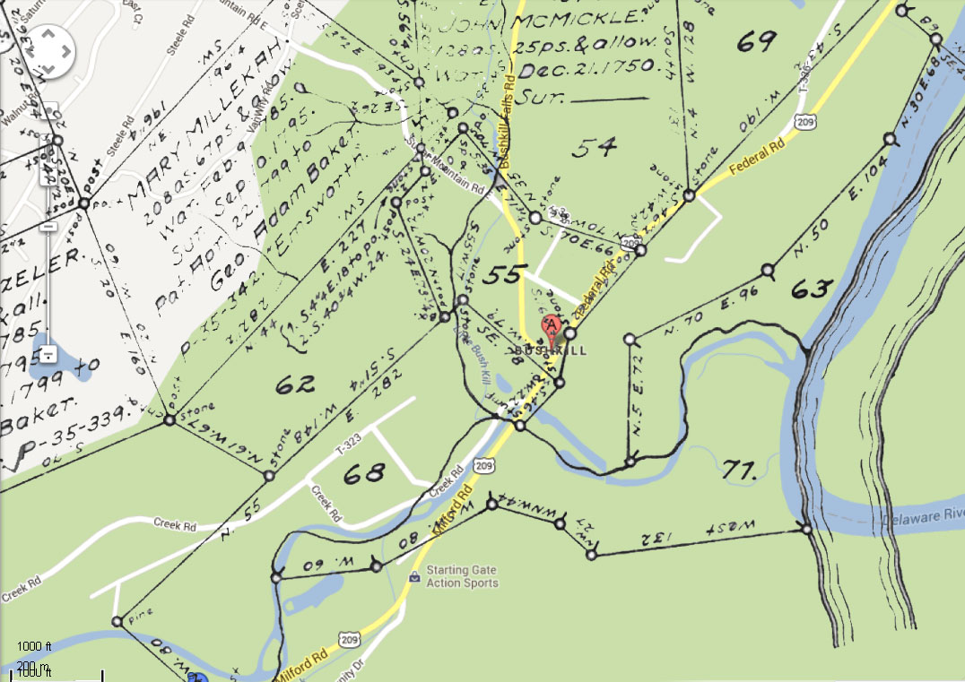on this map there are three parcels that ovelap the course of the little bushkill creek 68 surveyed to samuel depue in the late 1740 s 54 surveyed to