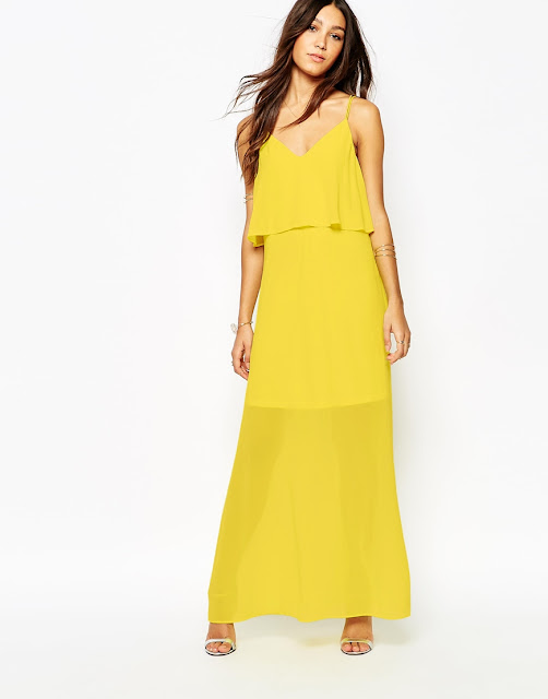 vila yellow maxi dress, yellow layered maxi dress,