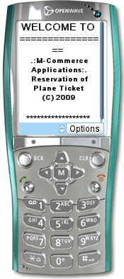 Desain Tampilan Utama Mobile commerce pemesanan tiket pesawat berbasis wap