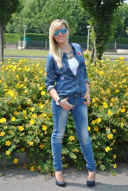 denim total look denim day come abbinare la camicia di jeans abbinamenti camicia idi jeans jeans e tacchi jeans skinny mariafelicia magno fashion blogger milano colorblock by felym blog di moda outfit primaverili outfit maggio 2015 jeans and heels denim total look denim shirt how to wear jeans and heels how to wear denim shirt mariafelicia magno fashion blogger colorblock by felym blonde hair blonde girls