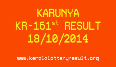 Karunya Lottery KR-161 Lottery Result 18-10-2014