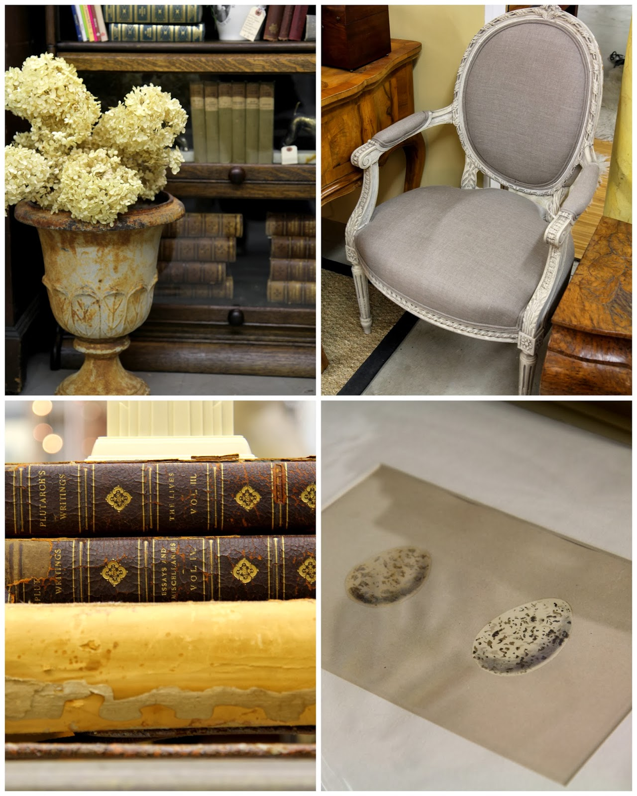 Antique urn, linen chair, old books, and egg print