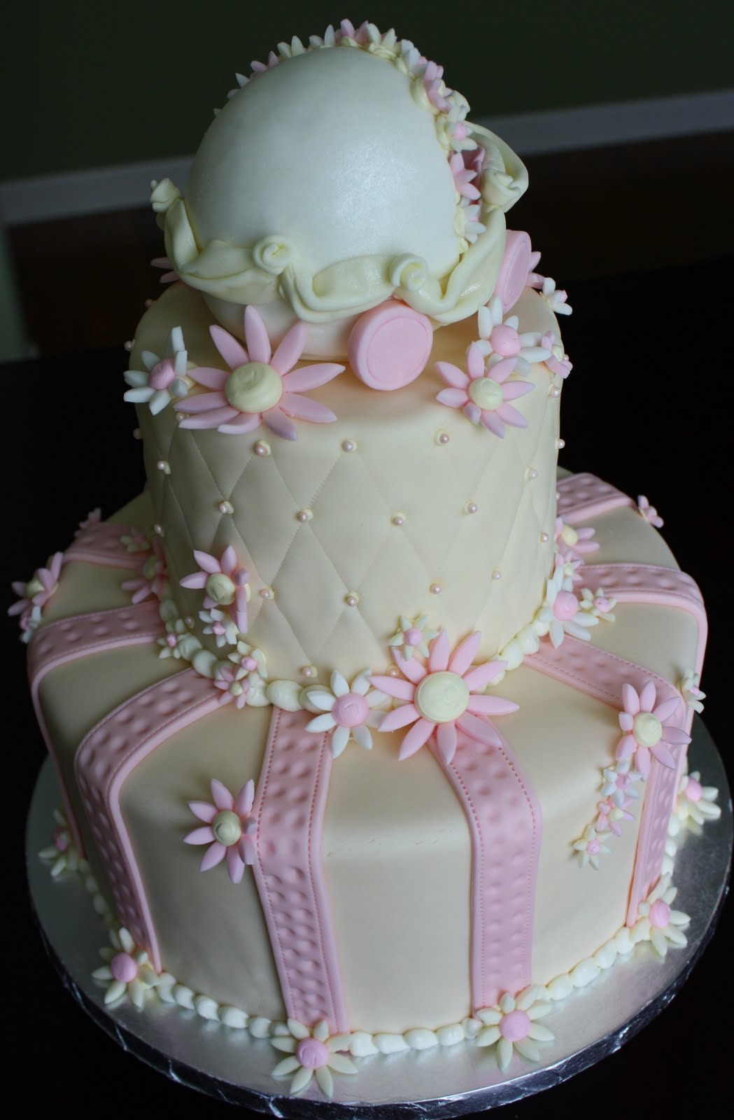Claudine Daisy Baby Buggy Shower Cake And Cross Cookies