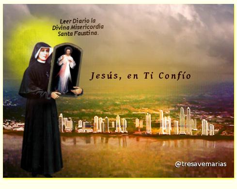 imagen del cuadro divina misericordia sostenido por santa faustina