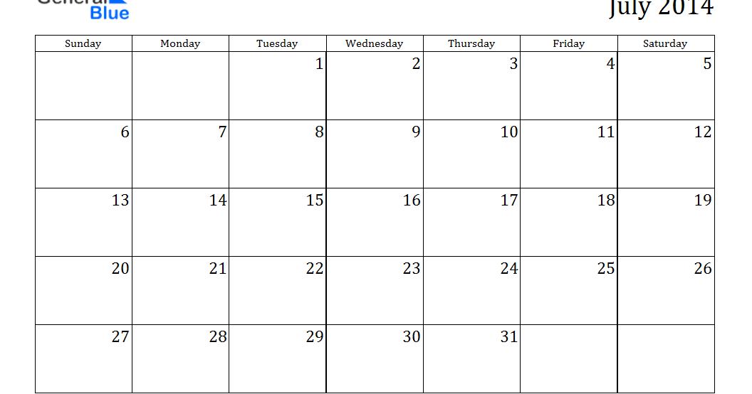 Blank July 2014 Calendar Printable - Printable Calendar 2014, Blank ...