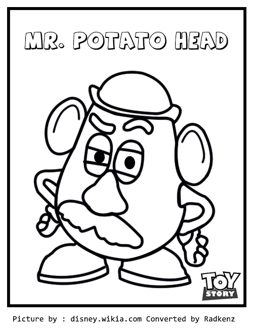 Radkenz Artworks Gallery Toy Story Mr Potato Head Coloring Page