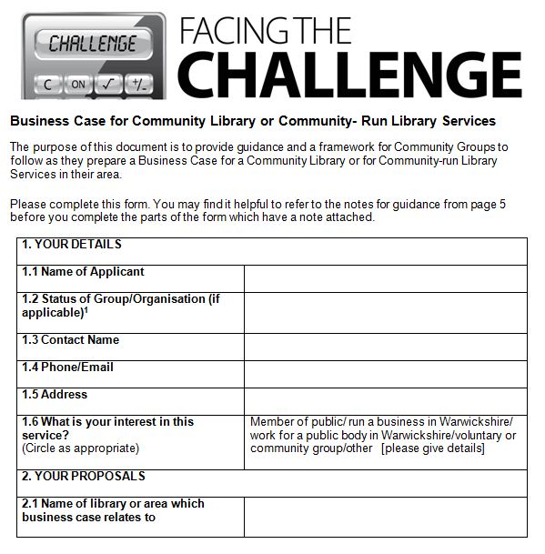 wcc libraries business case application form a dragons den pitch