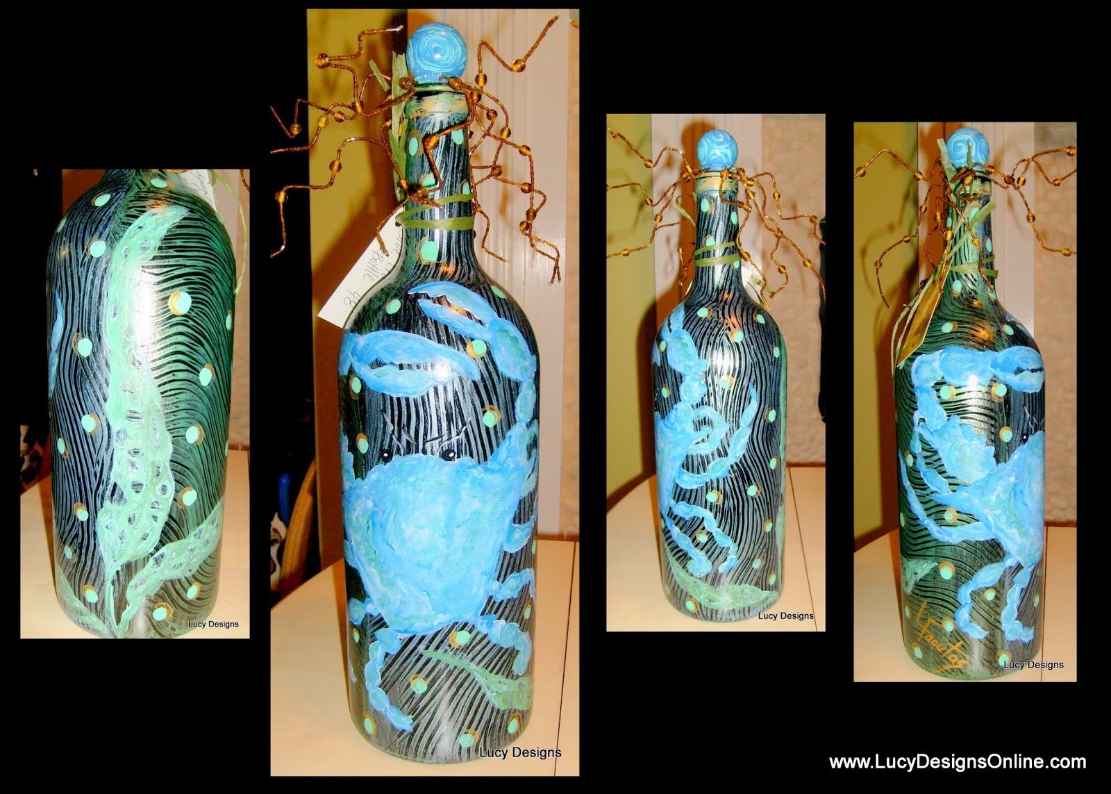 hand painted glass bottle with beaded stopper