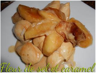 Emincé de poulet aux pommes flambé au cognac