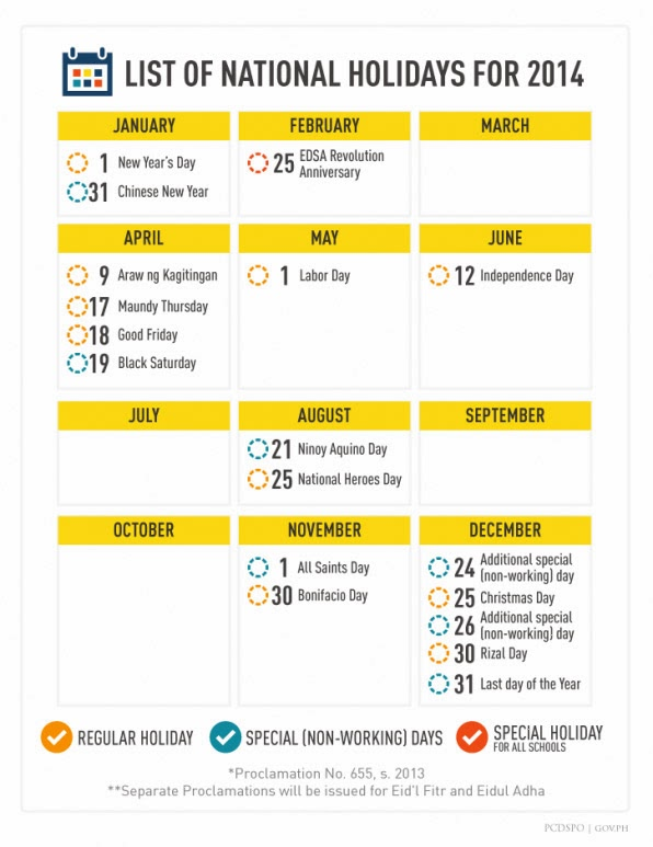 2014 Philippine Holidays [Courtesy of the Official Gazette]
