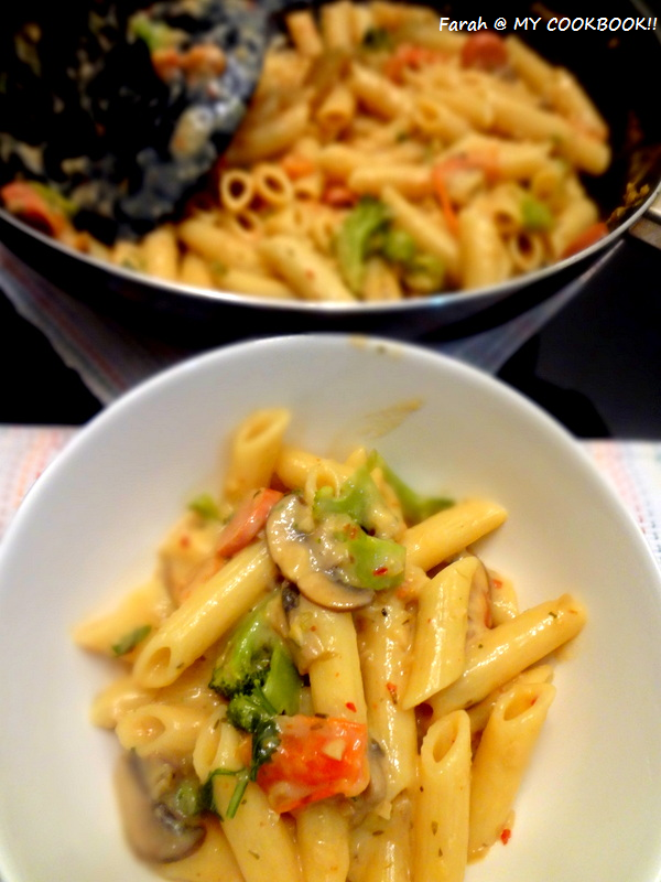 MY COOKBOOK!!: Broccoli and mushroom Pasta in Pink / white sauce ...