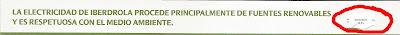 Comparativa del tamaño de las letras usado por Iberdrola en su publicidad