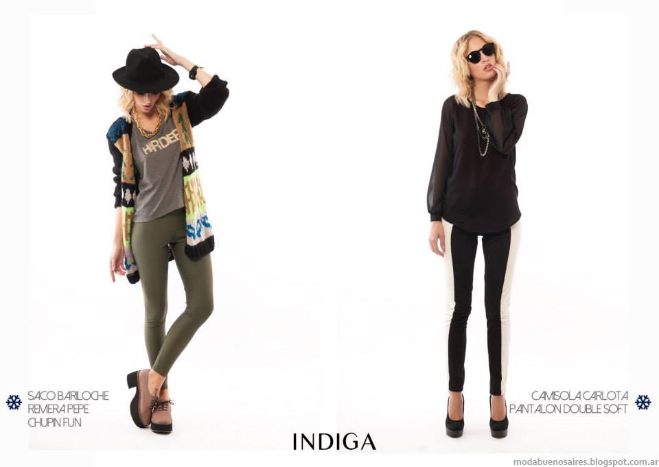Moda otoño invierno 2014 Colección Indiga otoño invierno 2014 blusas, camisas y sacos.
