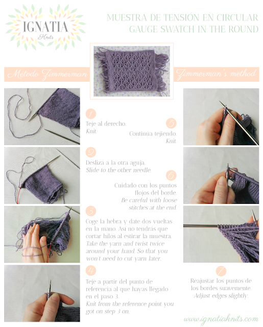 How to knit a gauge swatch in the round, Zimmerman's method, by Ignatia Knits
