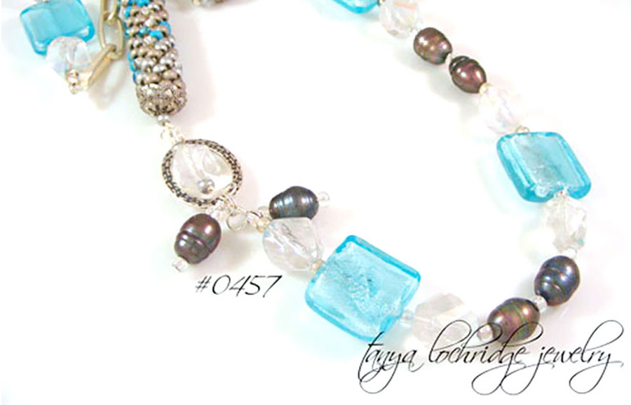 Tanya Lochridge Jewelry Aqua Lampwork Bead & Pearl Necklace