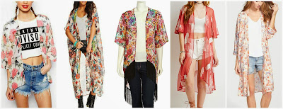 Romwe Floral Print Loose White Kimono $14.00 (regular $25.97)  Say What? Maxi Kimono $22.99 (regular $34.00) also in other prints  Romeo & Juliet Couture Floral Fringe Trimmed Open Kimono $24.50 (regular $47.00)  Forever 21 Feather Chiffon Kimono $29.90  Haute Society Print Long Kimono $48.00