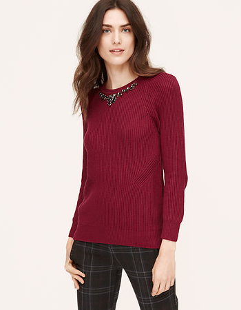 loft jeweled ribbed sweater