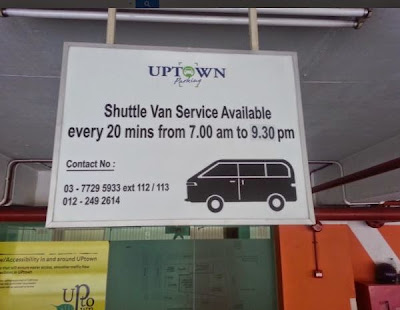 Uptown Damansara free shuttle van contact numbers
