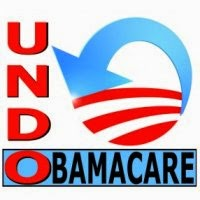 a blue and white sign that says undo obama care
