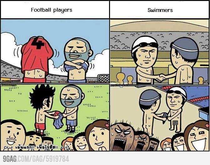 Funny cartoon football players vs swimmers