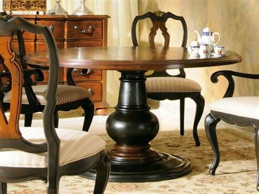 Meja makan kayu jati kuno dan antik bundar 4 kursi
