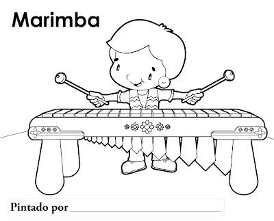 Simbolo patrio de Guatemala para colorear: Marimba
